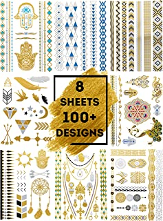 LIMITLESS Metallic Temporary Tattoos - 8 Sheets of 100+ Tattoo Pieces For Women, Teens and Girls - Gold, Silver, Blue and Black Metallic/Glittery Waterproof Colors!