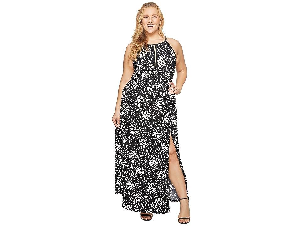MICHAEL Michael Kors Plus Size Mod Floral Halter Maxi (Black/White) Women