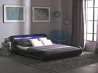 Beliani - Lit - Avignon - 140 x 200 cm, en Simili-Cuir, Noir, LED