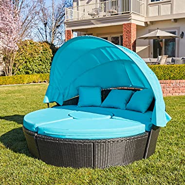 M&W Patio Furniture Outdoor Daybed with Retractable Canopy and Soft Cushions, PE Wicker Rattan Round Sectional Sofa Set f