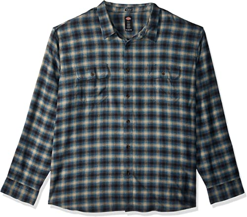 Dickies Hommes's manche longue Relaxed fit Flannel Shirt Big-Tall, bleu Suede Ombre Plaid, 4X