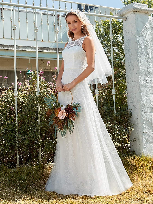 Ever-Pretty Dames Wei/ß Brautkleider A-Linie T/üll Spitze Empire Hochzeitskleider f/ür Braut 00645EH