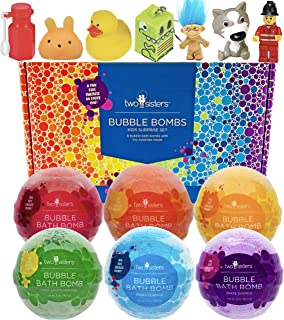 Bubble Bath Bombs for Kids with Surprise Toys Inside for Boys and Girls by Two Sisters. 6 Large 99% Natural Fizzies in Gif...