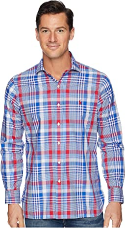 Button Down Pony Player Spread Estate Poplin Long Sleeve Sport Shirt in Classic Fit