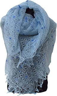 Fedelkea Orenburg Shawl Blue Wrap Lace Knitted Wool Goat Down Russian Handmade