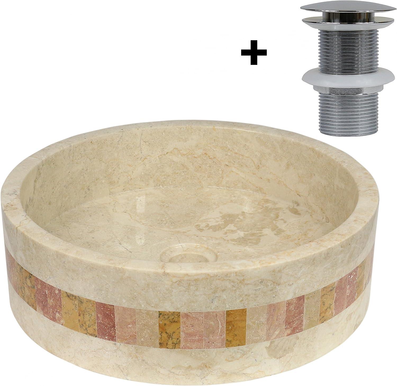 Marmor Waschbecken Stein Becken Basin Bad Waschschale Cream Mosaik Nr. 24 + PopUp Abfluss-Ventil Nr. 1