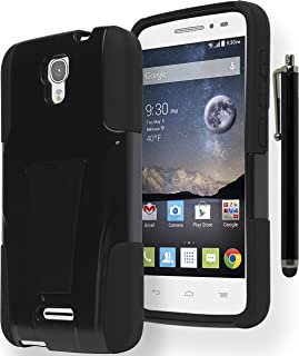 Alcatel One Touch Pop Astro Phone Case, Bastex Heavy Duty Hybrid Soft Black Silicone Cover Hard Black Kickstand (T-Stand) Case for Alcatel One Touch Pop AstroINCLUDES STYLUS