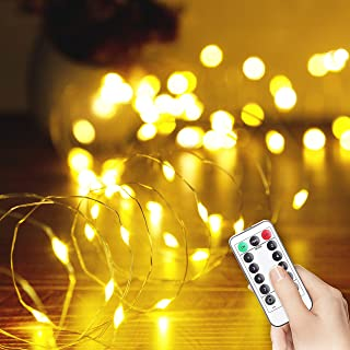 LED String Light, USB Powered 33FT 100 LED Silver Wire Starry Fairy Lights with Remote, 8 Modes, Twinkle Lights for Bedroo...