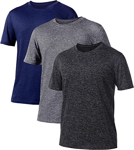 YOMOVER Workout T Shirts for Men 3 Pack Short Sleeve Keep Cool Quick Dry Athletic Running Fishing Sport Gym Home Mens Shirts