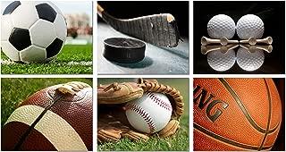 Sports Wall Art Prints - Baseball Basketball Soccer Football Golf Hockey - Set of 6 Photos