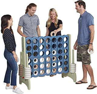 ECR4Kids Jumbo 4-to-Score Giant Game Set - Oversized 4-in-A-Row Fun for Kids, Adults and Families - Indoors/Outdoor Yard Play - 4 Feet Tall - Earthtone