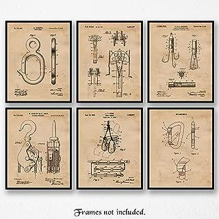 Original Rock & Mountain Climbing Patent Art Poster Prints, Set of 6 (8x10) Unframed Photos, Great Wall Art Decor Gifts Under 20 for Home, Office, Garage, Man Cave, Student, Teacher, Climber, Fan