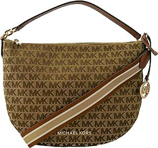 "Michael Kors Bedford Hobo Shoulder Bag Logo Jaquard Canvas Medium (Beige/Ebony/Luggage)"""