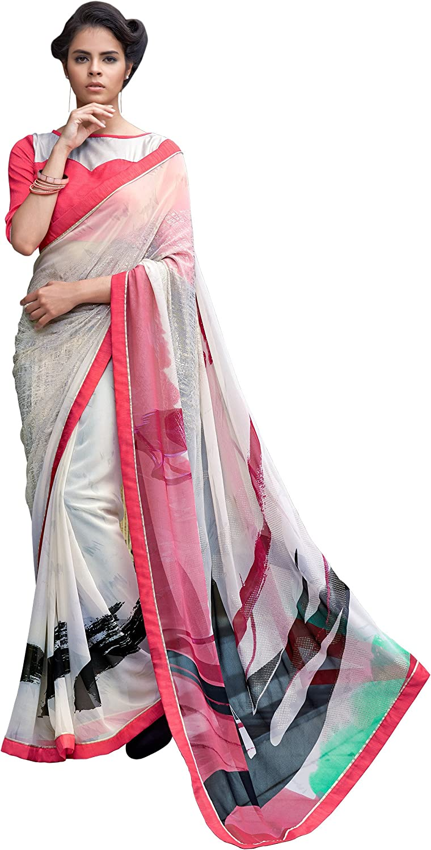 Saris and Things Blooming Coral Exclusive Designer Crepe Silk Saree Sari