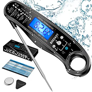 BREEKET 2 in 1 Instant Read Meat Thermometer for Cooking, Precise & Fast Digital Food Thermometer with Backlight, Magnet, Calibration, and Dual Foldable Probe for Deep Fry, BBQ, Grill, Black