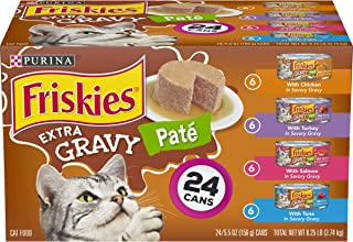 Purina Friskies Pate Wet Cat Food Variety Pack, Extra Gravy Pate Chicken, Turkey, Salmon..