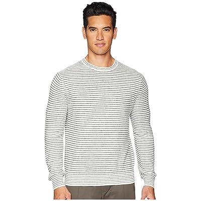 Vince Striped Sweater (Heather White/Heather Black) Men