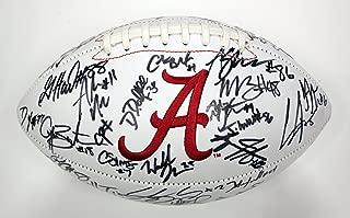 Alabama Crimson Tide 2015 National Champions Team Signed Autographed White Panel Logo Football Saban Henry Ridley