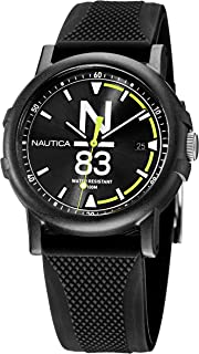 Nautica Men's Quartz Silicone Strap, Black, 20 Casual Watch (Model: NAPEPS106)