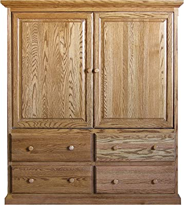 Forest Designs Traditional TV Armoire with Doors: 57W x 66H x 18D 57w x 66h x 18d Honey Oak