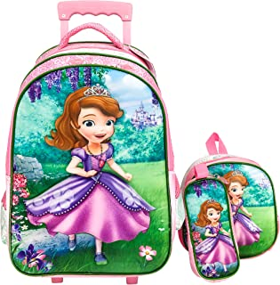 3D Sofia School Trolley With Backpack For Kids Boy 18 Inch Include Lunch bag And pencil Pouch