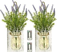 TenXVI Designs Remote Controlled Hanging Mason Jar Sconces – 2 Sets –..