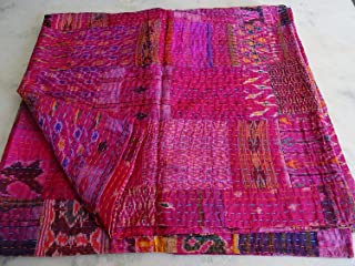 Tribal Asian Textiles Patola Silk Patch Work Kantha Quilt, Kantha Blanket Bedspread, Patch Kantha Throw, King Kantha, Kantha Rallies Indian Sari Quilt, Size 90