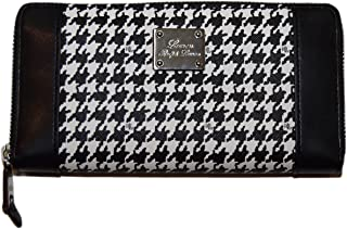 Polo Ralph Lauren Womens Clutch Long Zip Wallet Houndstooth Black White Ivory