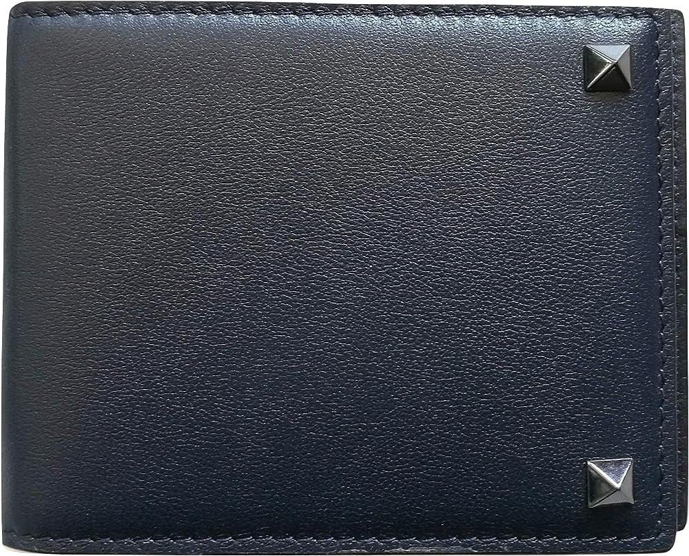 Valentino garavani, portafoglio, portacarte di credito con ferma soldi,colore: blu,in vera pelle PY2P0P32VH3 M30