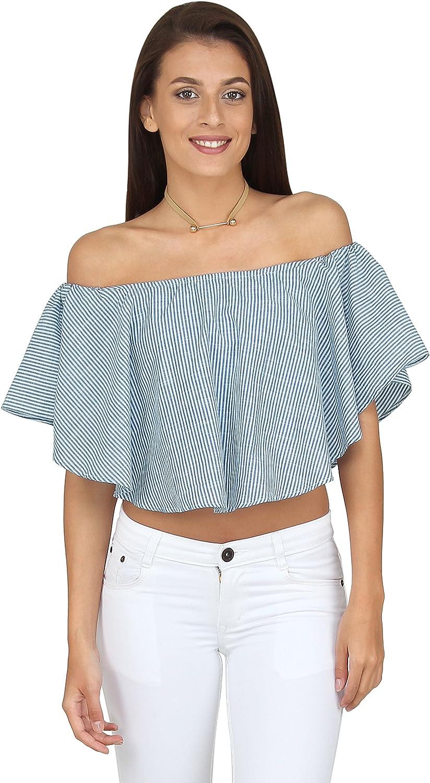 20Dresses Womens Stripe Printed Cotton Bardot Off Shoulder Top