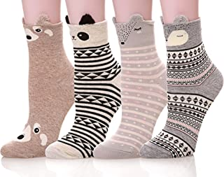 Women's Funny Cute Cartoon Animal Novelty Casual Cotton Crew Socks 4-6 Pack