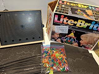 Milton Bradley Classic 1990 Lite Brite Large Rectangular Unit with Pegs and Drawing Sheets