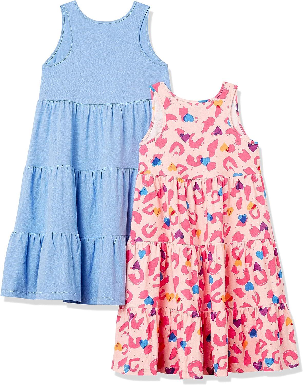 Spotted Zebra Girls' Knit Sleeveless Tiered Dresses