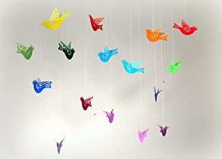 Set of 16 rainbow colored paper flying/hanging birds/dorm room/nursery mobile/classroom decoration/birthday party decor