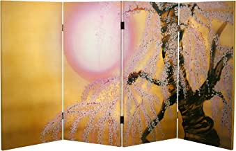 Oriental Furniture 3 ft. Tall Double Sided Sakura Blossoms Canvas Room Divider