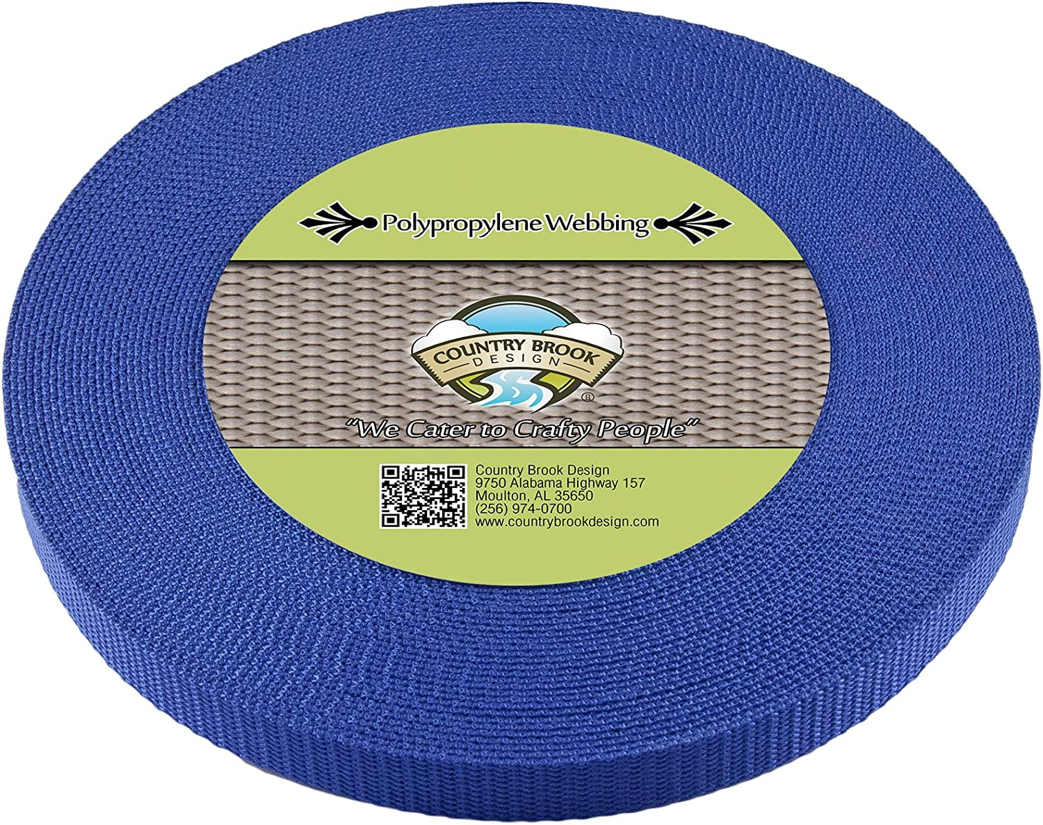 Country Brook Design 3 4 Inch Victorian blueee Heavy Polypro Webbing, 50 Yards