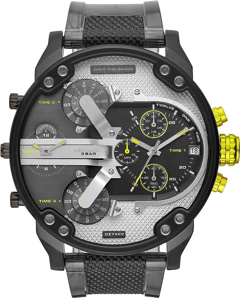Diesel orologio cronografo da uomo  cassa in acciaio inossidabile cinturino in poliuretano DZ7422