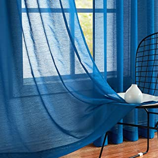 Fmfunctex Sheer Curtain Panels 63 inches Navy Blue Kids...