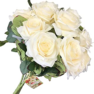 DALAMODA Ivory 2 Bundles (with Total 20 Heads) Rose Flower Bouquet, for DIY Any Decoration Artificial Silk Flower Pack of Include Free one Ring Box