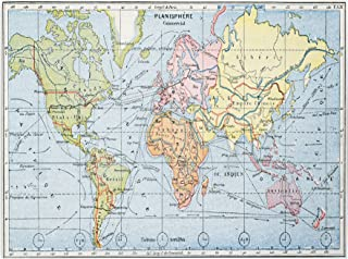 Map of Principal World Trade Routes 1912, 14 by 24-Inch Canvas Wall Art