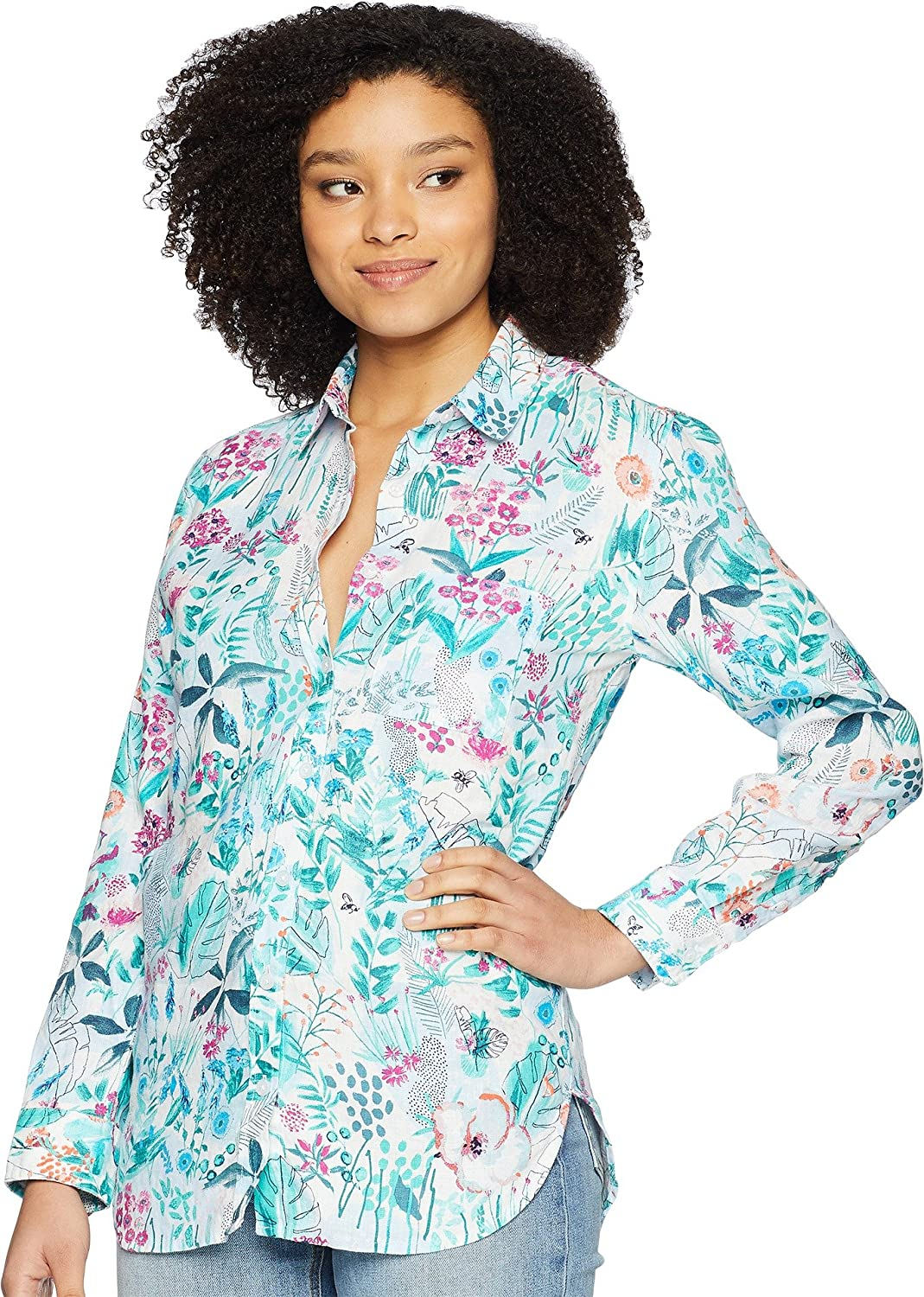 Joules Womens Jeanne Printed Linen Shirt
