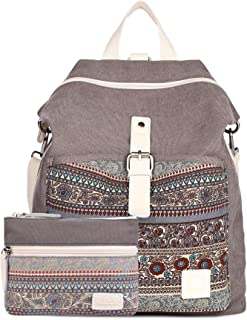 CASE STAR Women Girls Canvas Backpack Purse Bohemian Casual Shoulder Bag Rucksack Fashion Handbag with One Small Canvas Wallet Electronics Accessories Organizer Bag Grey with Bohemian Pattern Standard size