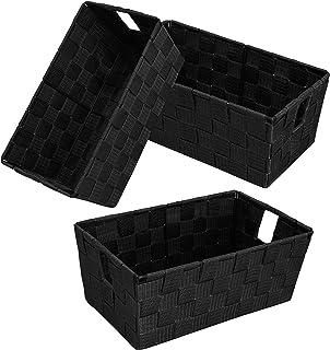 Lot de 3 paniers de rangement pour étagère de salle de bain avec poignées en tissu tissé pour salle de bain, bureau (noir)