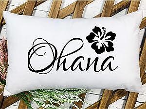 Ohana Throw Pillow Cover Beach Decor Hawaiian Decor Beach House Pillow Cover Hibiscus Flower