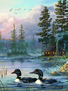 River's Edge Autumn Air Loons LED Lighted Gallery Wrapped Canvas Art, 16