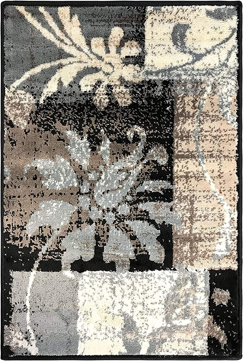 SUPERIOR Pastiche Contemporary Floral Patchwork Polypropylene Indoor Area Rug or Runner with Jute Backing, 2'6