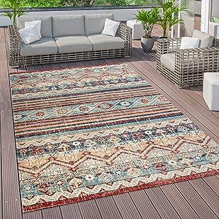 Vloerkleed voor de woonkamer, platweefsel in oosterse look, verschillende kleuren en formaten, Maat:80x150 cm, Kleur:Veelk...