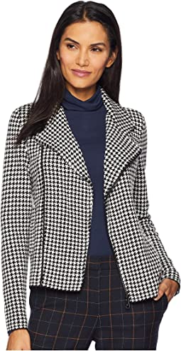 Houndstooth Wool Blend Moto Jacket