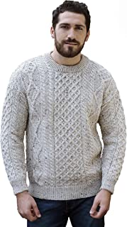 Aran Crafts Traditional Aran Crew Neck Sweater (100% Pure New Wool) Ecru, Skiddaw, Blackwatch Colors