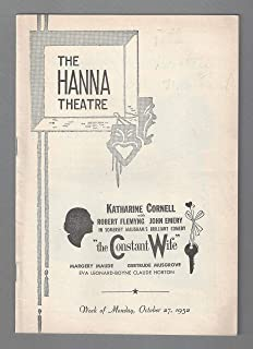 "Katharine Cornell""THE CONSTANT WIFE"" W. Somerset Maugham 1952 Cleveland Playbill"